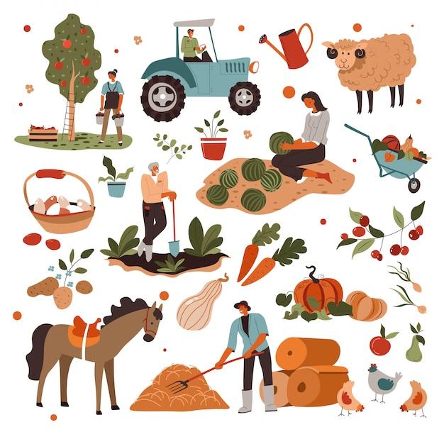Landbouwers die voor planten en dieren zorgen op de boerderij Premium Vector