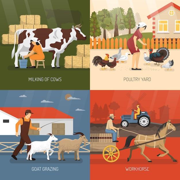 Landbouwhuisdieren ontwerpconcept Gratis Vector