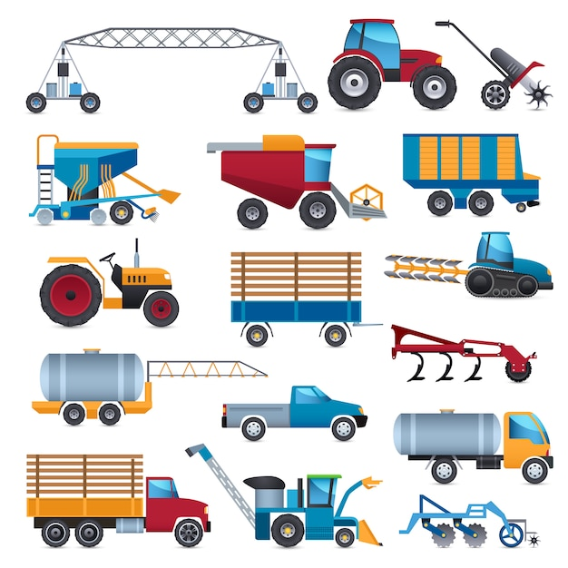 Landbouwmachines icons set Gratis Vector