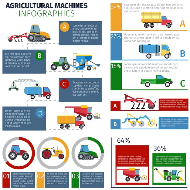 Landbouwmachines infographic set Gratis Vector