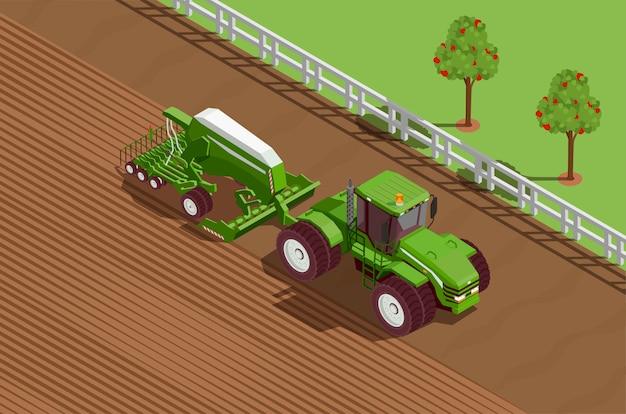 Landbouwmachines isometrische achtergrond Gratis Vector