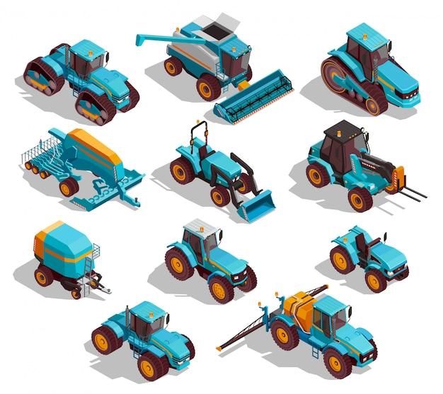 Landbouwmachines isometrische icons set Gratis Vector