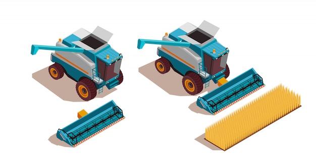 Landbouwmachines isometrische set Gratis Vector