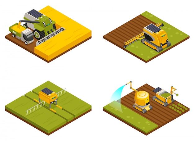 Landbouwrobotsconcept 4 isometrische composities met schoffelen, ploegen, planten, drenken, bemesten en oogsten Gratis Vector
