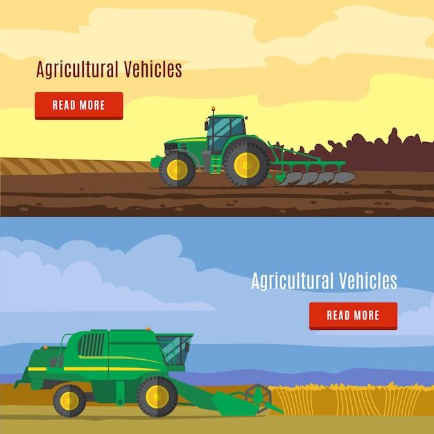 Landbouwvoertuigen flat banners Gratis Vector