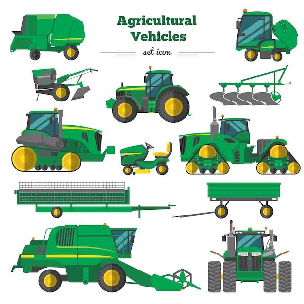 Landbouwvoertuigen plat pictogrammen instellen Gratis Vector