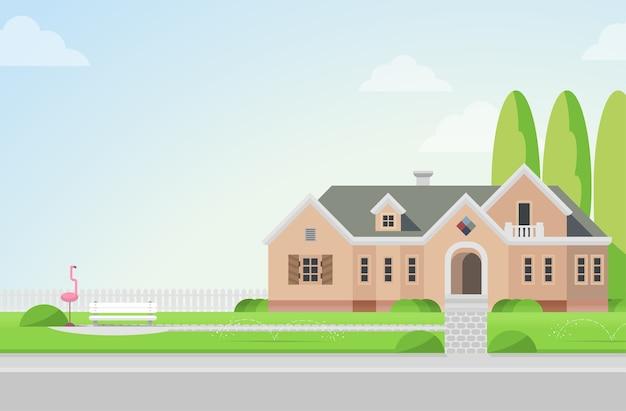 Landelijk herenhuis met achtertuin op gazon flamingo en bankconcept architectuurelementen bouw je wereldcollectie Gratis Vector