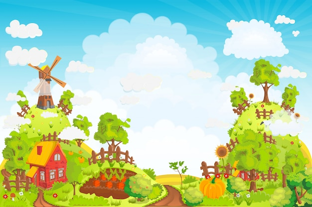 Landelijk landschap met huizen, tuinen, een molen, een veld en hoge heuvels illustratie Premium Vector