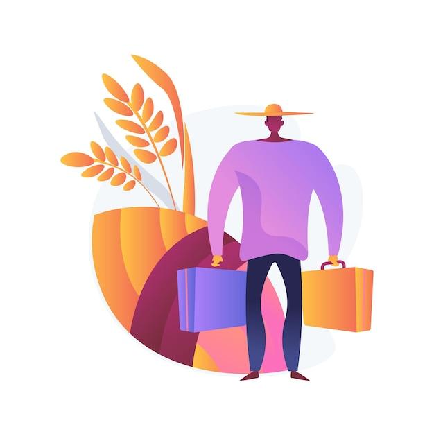 Landelijke migratie abstract concept vectorillustratie. land-urbane migratiestromen, mensenbeweging, landbouwontwikkeling, bevolkingsgroei, verhuizen naar de stad, verstedelijking abstracte metafoor. Gratis Vector