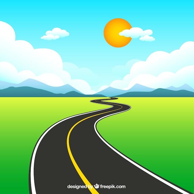 Landelijke weg Gratis Vector