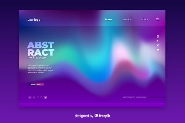 Landende paginasjabloon voor noorderlicht Gratis Vector