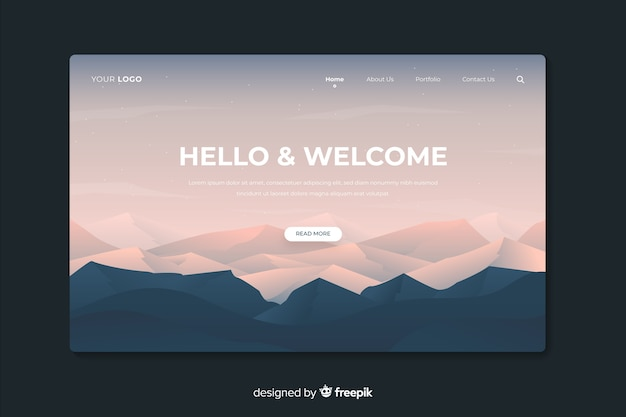 Landende webpagina met gradiëntbergen en bos Gratis Vector