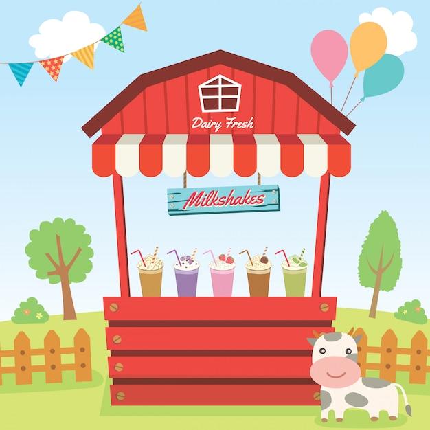Landhok van milkshakes Premium Vector