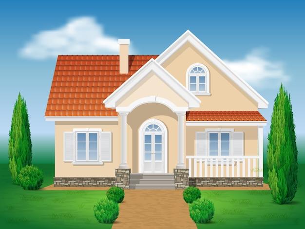 Landhuis. voorkant van het huis en de tuin Premium Vector