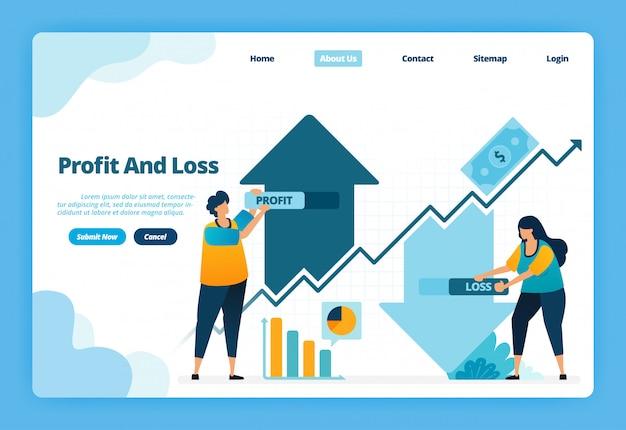 Landing page illustratie van winst en verlies. op en neer in het nemen van investeringen in kapitaalwinsten in financiële markten Premium Vector