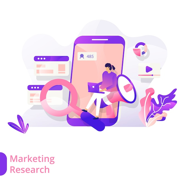 Landing page marketing research vector illustratie modern concept Premium Vector