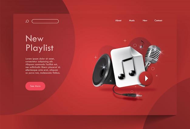 Landing page music, nieuwe afspeellijst Premium Vector