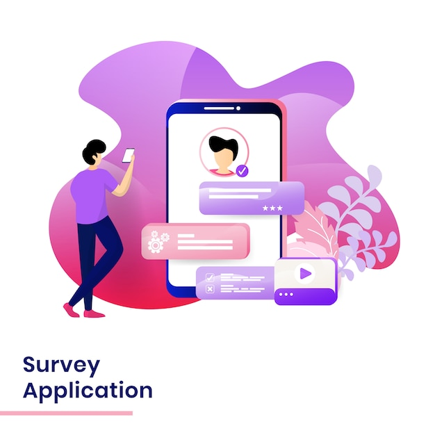 Landing page survey application illustratie Premium Vector