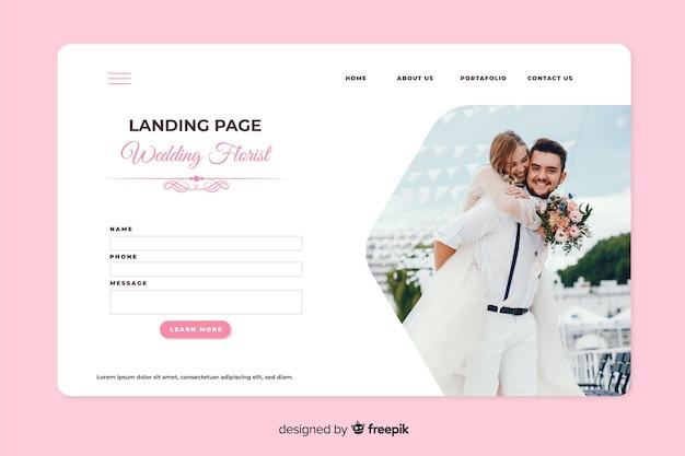 Landingspagina bruiloft met foto Gratis Vector