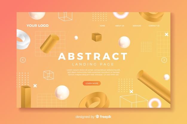 Landingspagina met abstracte vormen Gratis Vector
