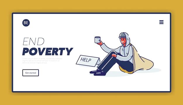 Landingspagina met armoedeconcept en dakloze afro-amerikaanse man die om geld bedelt Premium Vector