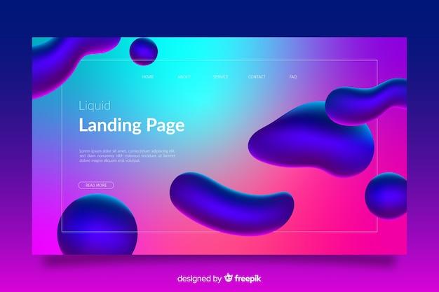 Landingspagina met kleurrijke vloeibare vormen Gratis Vector