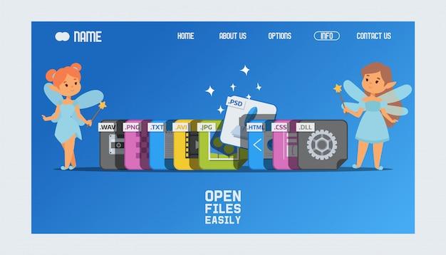 Landingspagina of websjabloon met bestandsextensies en feeën met toverstokjes die helpen bij het openen van het psd-formaat. Premium Vector