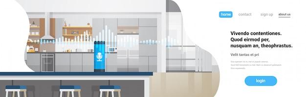 Landingspagina of websjabloon met illustratie over intelligent huis, spraakgestuurde assistentherkenningstechnologie Premium Vector