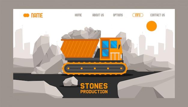 Landingspagina of websjabloon met illustratie van de productie van bouwstenen Premium Vector