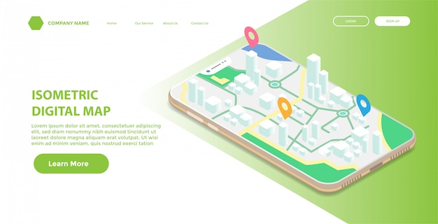 Landingspagina of websjabloon met isometrische illustratie van mobiele digitale kaart Premium Vector