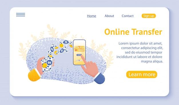 Landingspagina of websjabloon voor online overdrachtsconcept met hand met smartphone en druk op verzendknop Premium Vector