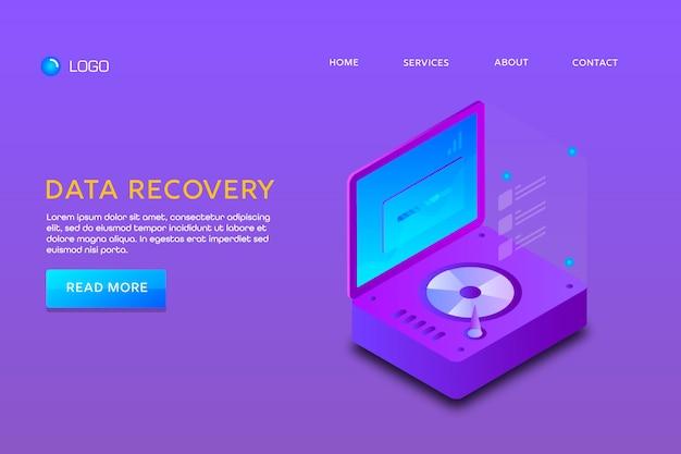 Landingspagina of websjabloonontwerp. data herstel Premium Vector