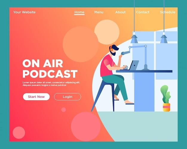 Landingspagina. on air podcast Premium Vector