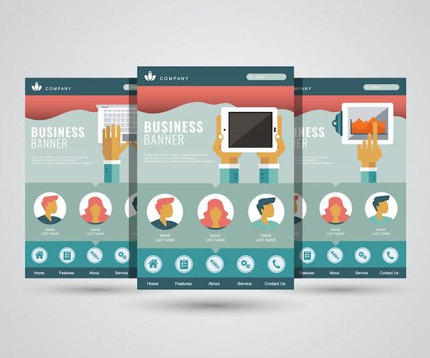 Landingspagina's voor digitale marketing, bedrijven en technologie Premium Vector