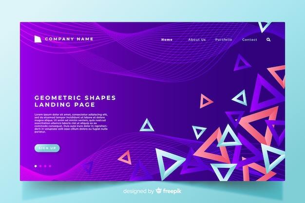 Landingspagina sjabloon geometrische vormen Gratis Vector