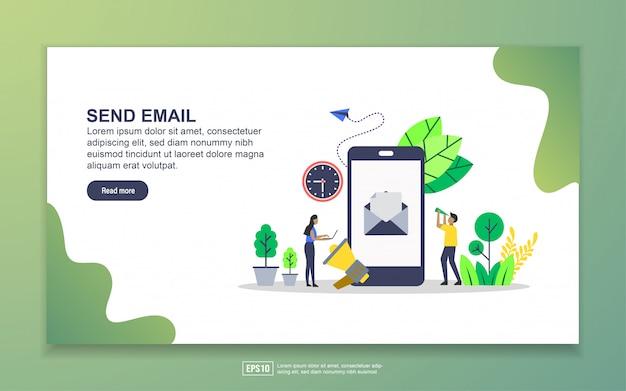 Landingspagina sjabloon of e-mail verzenden. modern plat ontwerpconcept webpaginaontwerp voor website en mobiele website Premium Vector