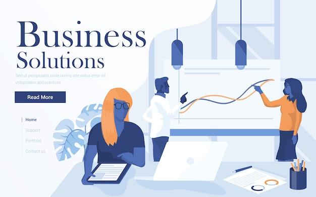 Landingspagina sjabloon van business solutions. team van jonge mensen die in werkruimte samenwerken. modern van webpagina voor website en mobiele website. Premium Vector