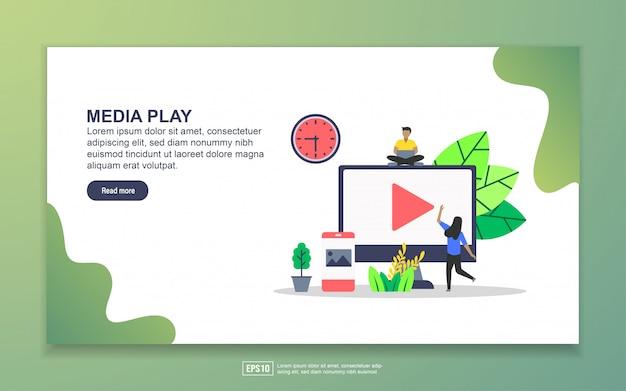 Landingspagina sjabloon van media play. modern plat ontwerpconcept webpaginaontwerp voor website en mobiele website. Premium Vector