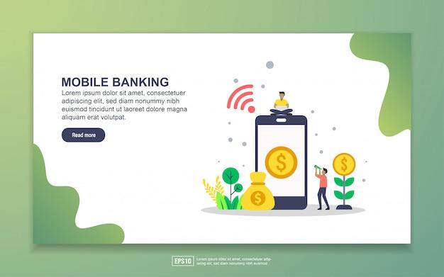 Landingspagina sjabloon van mobiel bankieren. modern plat ontwerpconcept webpaginaontwerp voor website en mobiele website Premium Vector