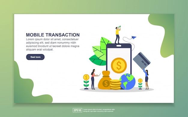 Landingspagina sjabloon van mobiele transactie. modern plat ontwerpconcept webpaginaontwerp voor website en mobiele website Premium Vector