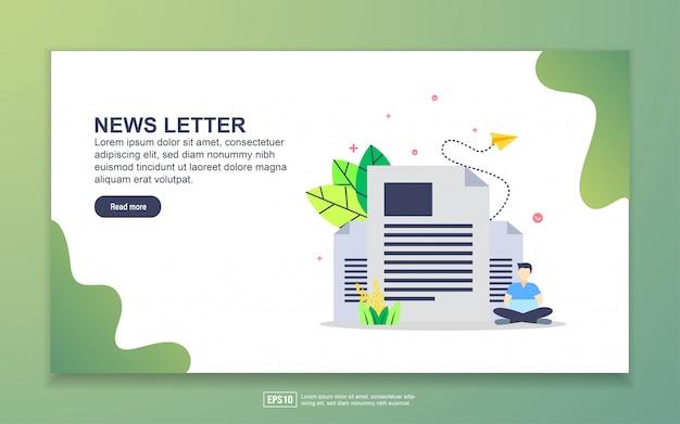 Landingspagina sjabloon van nieuwsbrief. modern plat ontwerpconcept webpaginaontwerp voor website en mobiele website. Premium Vector