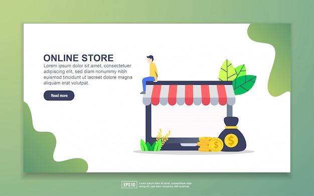 Landingspagina sjabloon van online winkel. modern plat ontwerpconcept webpaginaontwerp voor website en mobiele website. Premium Vector