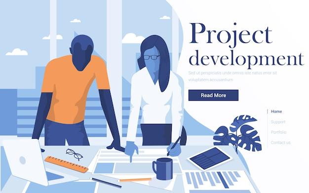Landingspagina sjabloon van projectontwikkeling. team van jonge mensen die in werkruimte samenwerken. modern van webpagina voor website en mobiele website. Premium Vector