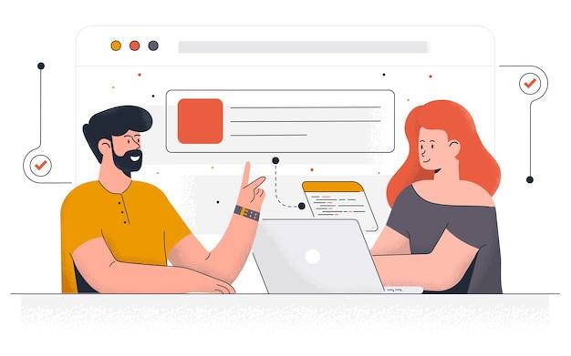 Landingspagina sjabloon van projectontwikkeling. team van jonge mensen die samenwerken in moderne werkruimte. modern van webpagina-ontwerp voor website en mobiele website. Premium Vector