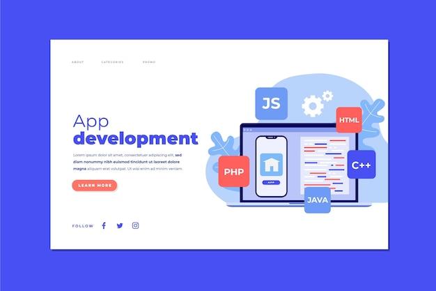 Landingspagina-sjabloon voor app-ontwikkeling met telefoon en laptop Gratis Vector