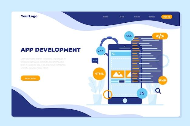Landingspagina-sjabloon voor app-ontwikkeling met telefoon Premium Vector