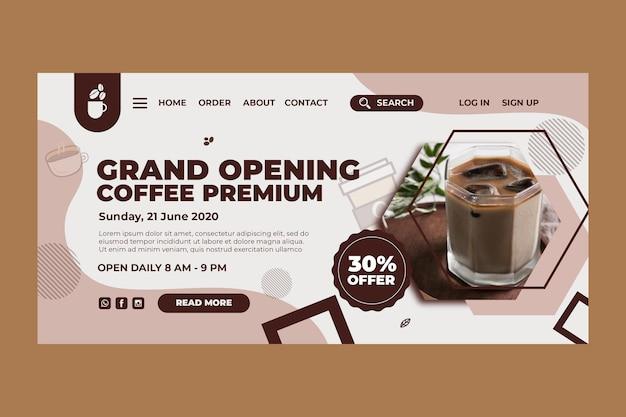 Landingspagina sjabloon voor coffeeshop Premium Vector