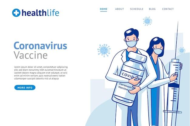 Landingspagina sjabloon voor coronavirusvaccin met platte hand Gratis Vector
