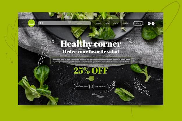 Landingspagina sjabloon voor gezond restaurant Gratis Vector