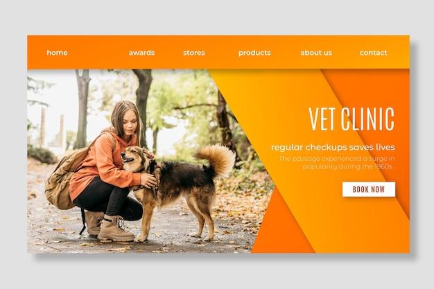Landingspagina sjabloon voor gezonde huisdieren veterinaire kliniek Gratis Vector